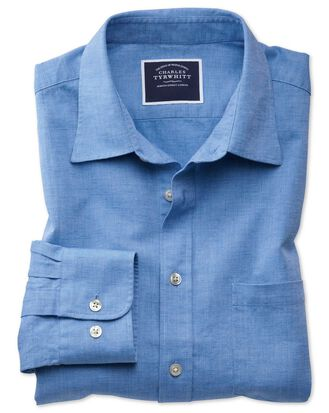 Slim fit cotton linen bright blue plain shirt