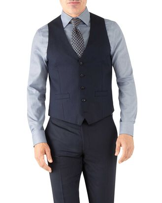 Navy herringbone adjustable fit Italian suit vest