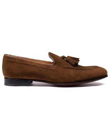 Tan suede tassel loafer