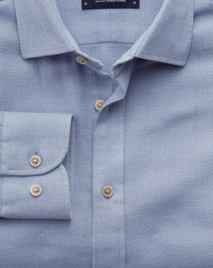 Classic fit mouline mid blue textured shirt