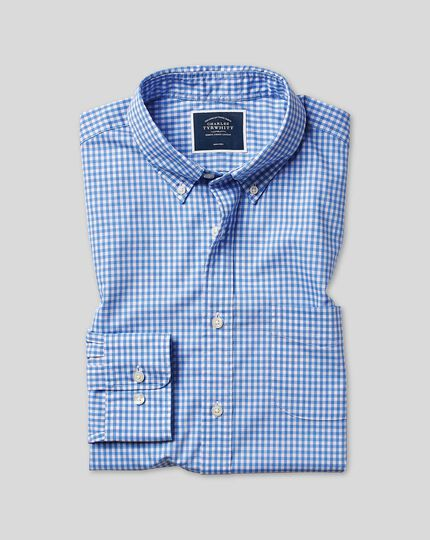 Button-Down Collar Soft Washed Stretch Poplin Check Shirt - Sky