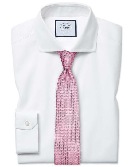 Super slim fit non-iron spread collar white Oxford stretch shirt