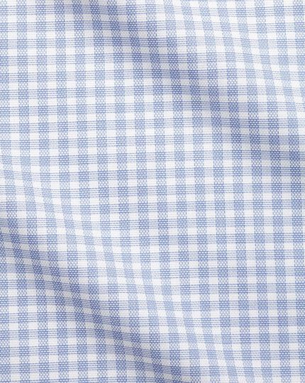 Extra slim fit cutaway collar non-iron cotton stretch Oxford blue check shirt