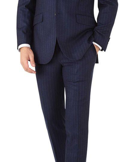 Veste de costume business bleu marine en flanelle slim fit avec rayures