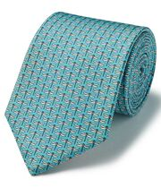 Aqua blue dragonfly print silk classic tie