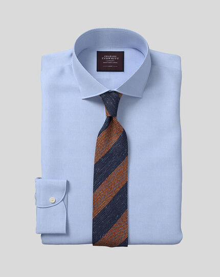 Semi-Spread Collar Italian Luxury Leno Shirt - Blue