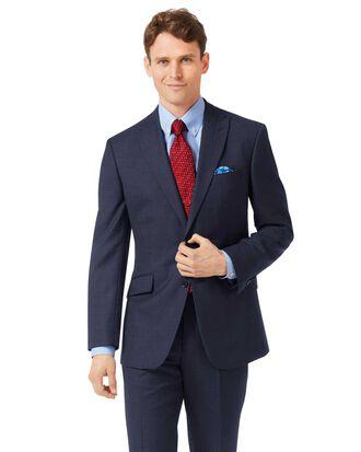 Navy classic fit jaspe business suit jacket