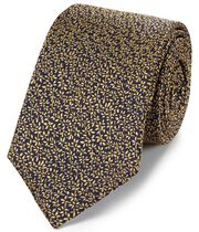 Navy and gold silk micro leaf classic tie