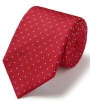 Red and sky blue silk textured spot stain resistant classic tie