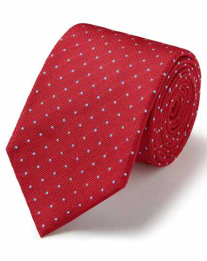 Red and sky silk textured spot stain resistant classic tie