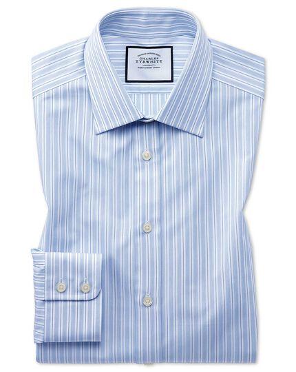 Classic Fit Popelinehemd aus ägyptische Baumwolle mit Streifen in Himmelblau