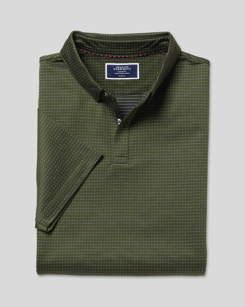 Jacquard Cotton Polo - Olive