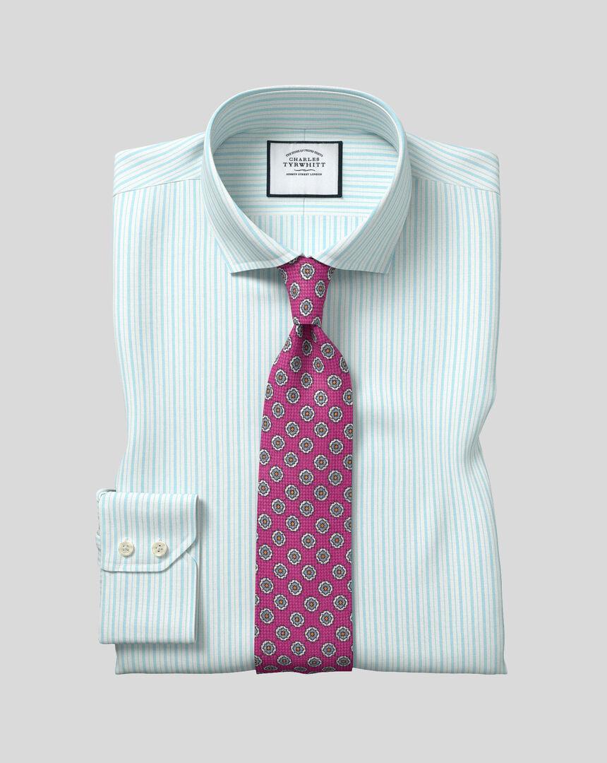 Cutaway Collar Stretch With TENCEL™ Stripe Shirt- Blue