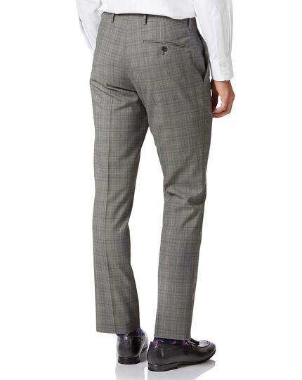 Grey Prince of Wales slim fit Panama business suit trousers