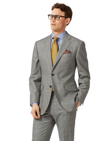 Grey classic fit Prince of Wales check flannel business suit jacket