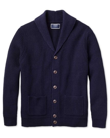 Navy shawl collar lambswool cardigan