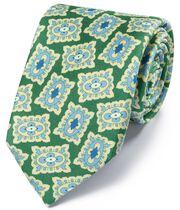 Englische Luxuskrawatte aus Seide mit Medallion-Print in Grün und Blau
