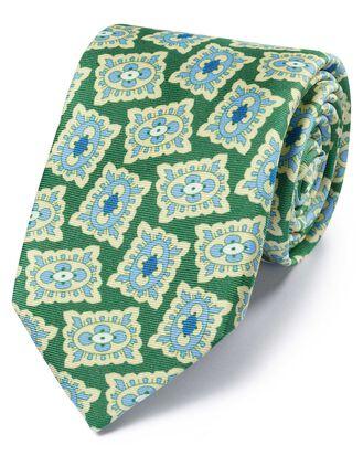 Green and blue silk medallion print English luxury tie