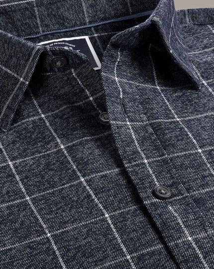 Slim Fit Hemd mit Karomuster und weicher Struktur in Marineblau und Weiß