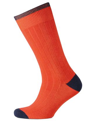 Orange cotton rib socks