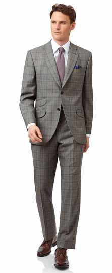 Britischer Classic Fit Luxusanzug mit Prince-of-Wales-Karos in Grau
