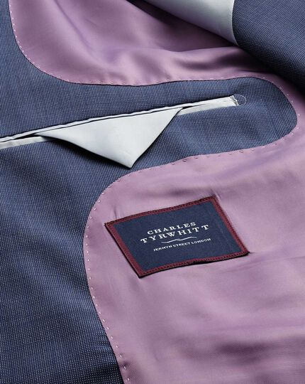 Light blue slim fit step weave suit jacket