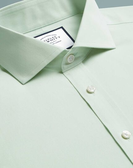 Extra slim fit cutaway non-iron poplin green shirt