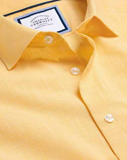 Smart Casual Collar Slub Shirt - Yellow