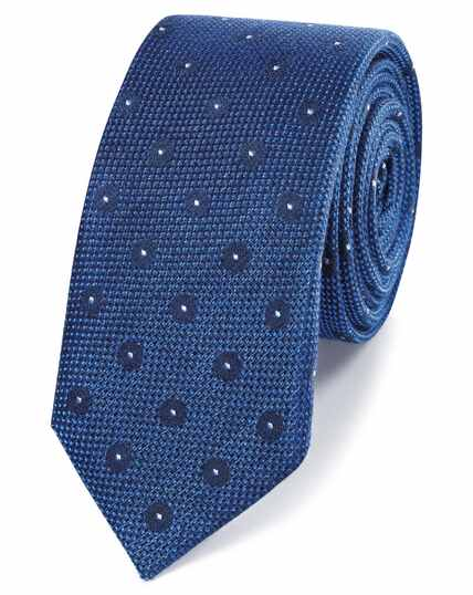 Royal blue linen silk spot slim tie