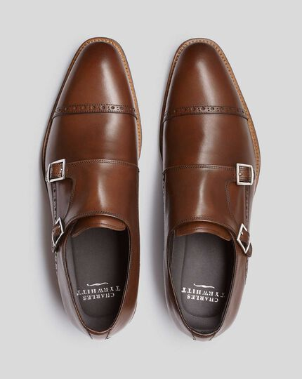 Flexible Sole Double Buckle Monk Shoe - Brown