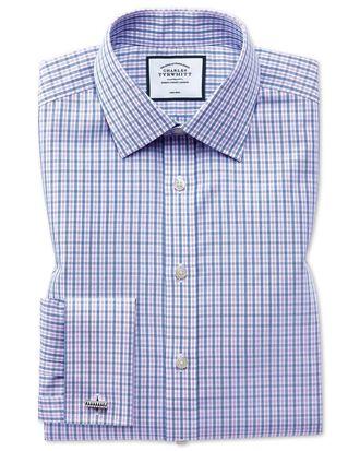 Chemise bleue et violette à carreaux coupe droite sans repassage