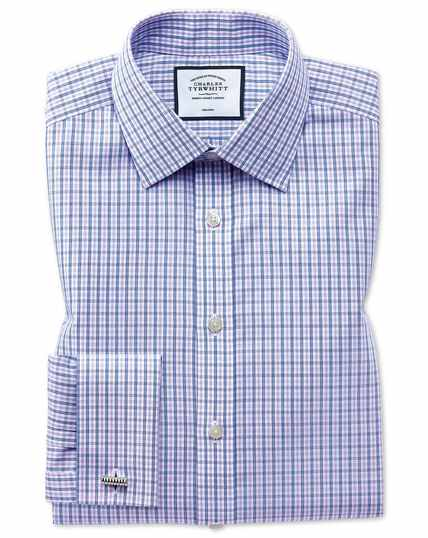 Classic fit non-iron blue and purple check shirt