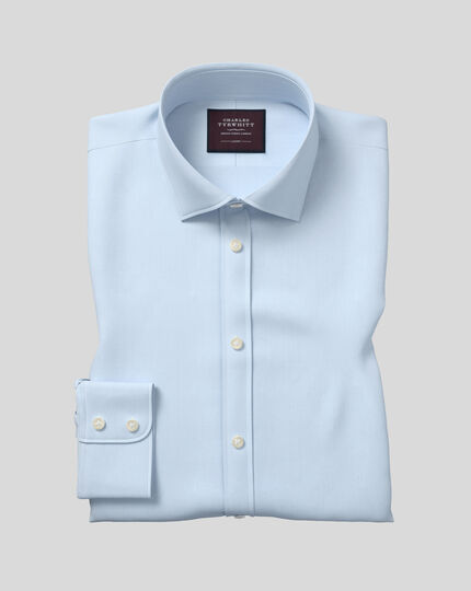 Semi-Spread Collar Luxury Twill Shirt  - Light Blue