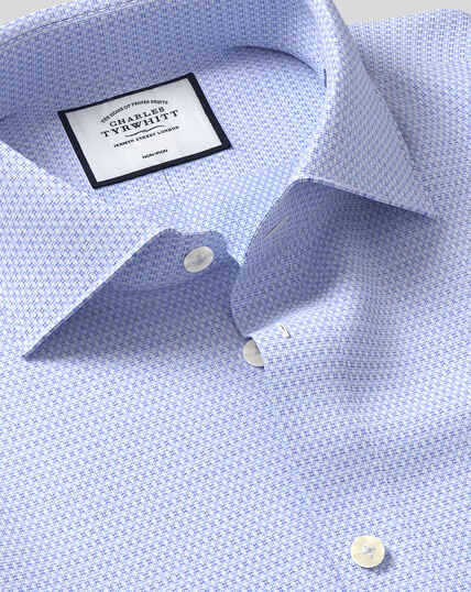 Business Casual Collar Non-Iron Natural Stretch Textured Shirt - Sky & Blue