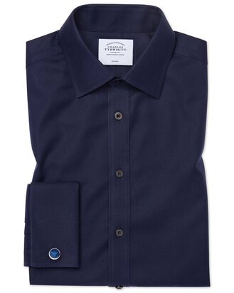 Bügelfreies Classic Fit Twill-Hemd in Marineblau