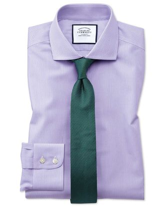 Extra slim fit cutaway collar non-iron bengal stripe lilac shirt