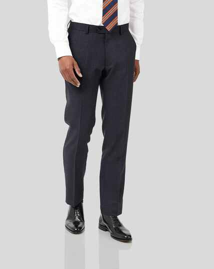 Semi-Plain Suit Pants - Navy