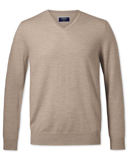 Stone merino v-neck sweater