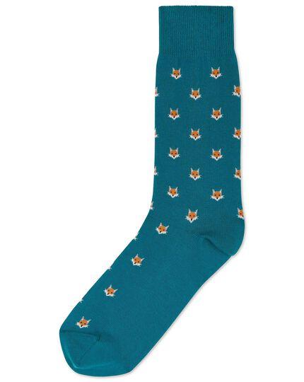 Teal fox motif socks