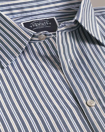 Slim fit navy multi stripe soft washed shirt