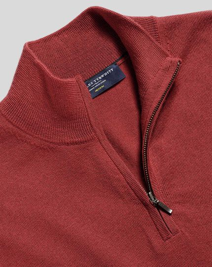 Merino Zip Neck Jumper - Brick Red