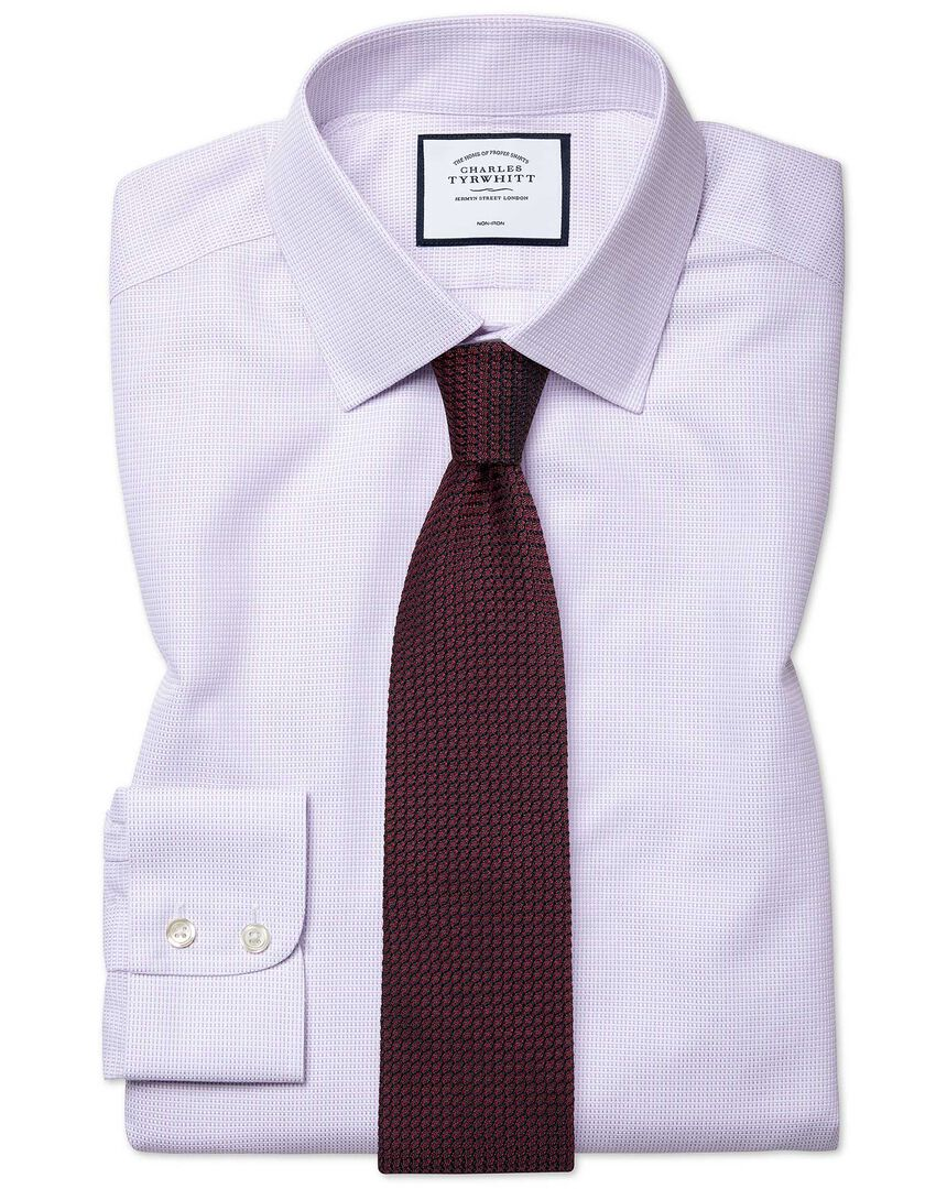 Classic fit non-iron dash weave lilac shirt