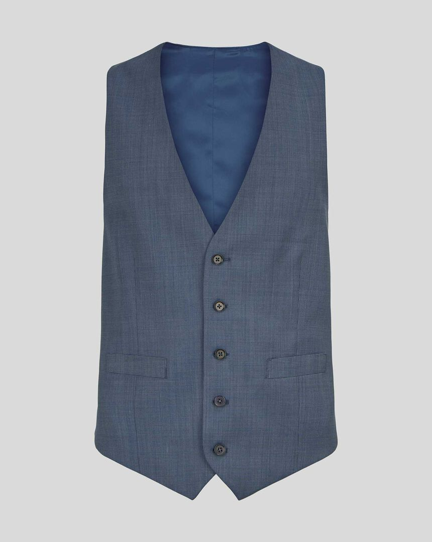Textured Suit Vest - Light Blue
