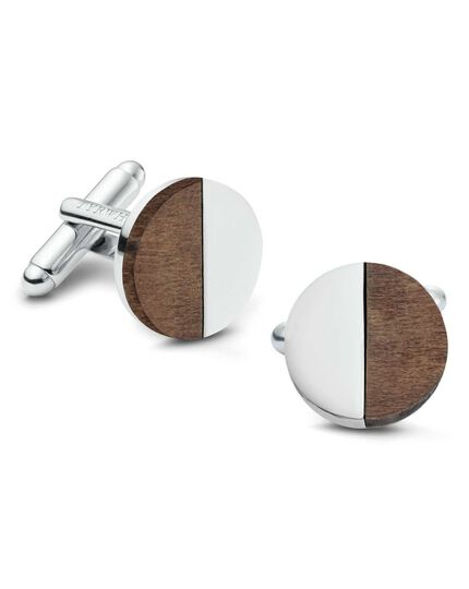 Wood contrast metal circle cufflinks