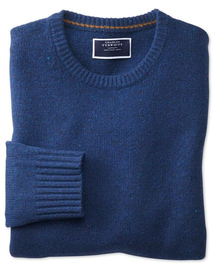 Blue crew neck Donegal merino sweater