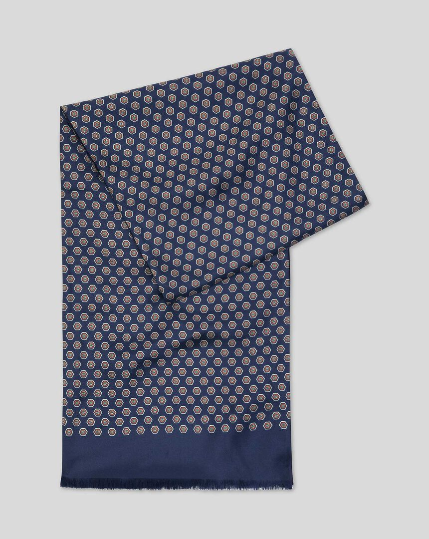 Printed Silk Scarf  - Navy