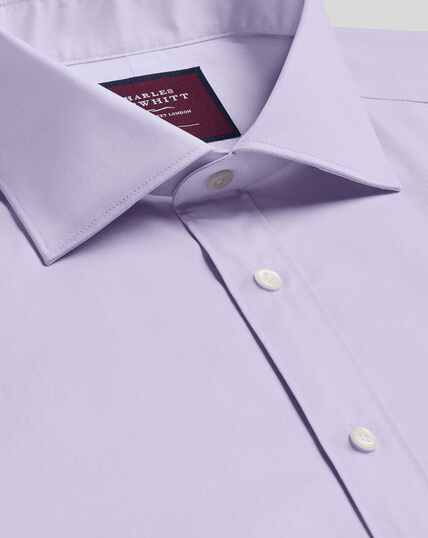 Semi-Spread Collar Luxury Cotton Stretch Shirt - Lilac