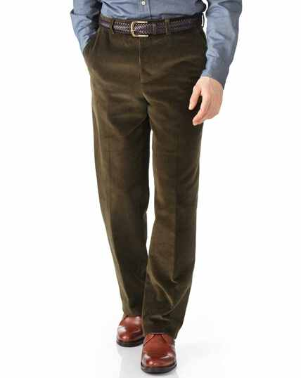 Olive classic fit jumbo cord trousers