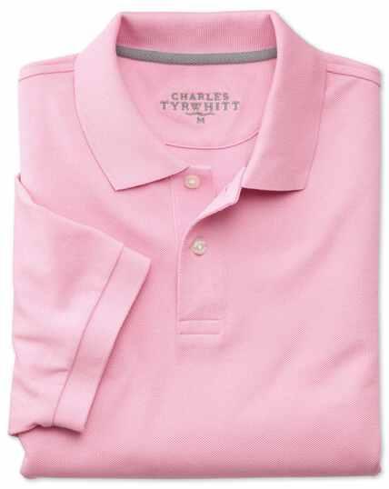 Pink pique polo
