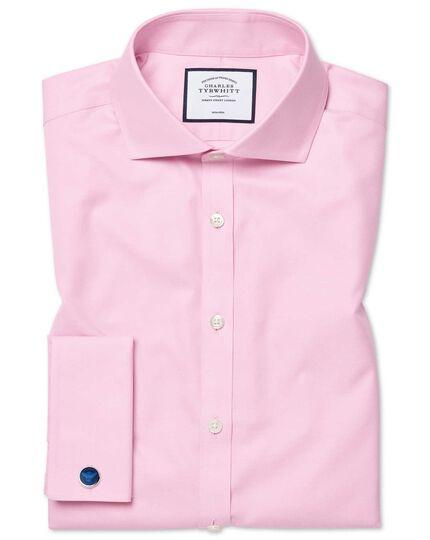 Super slim fit spread collar non-iron twill pink shirt